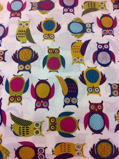 Bunch of Owls Cotton Fabric/Sewing Craft Supplies/Apparel Fabric/ Quilt 100% Cotton Fabric - pinned by pin4etsy.com