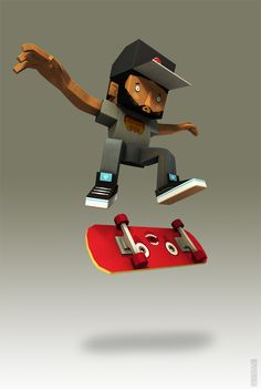3D Skateboard Guy #3D #cartoon #skate