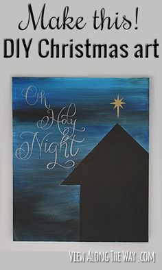 Handmade 2014 Christmas Canvas paintings with chipboard letters and musical notes - golden star decor painting, Christmas decors.