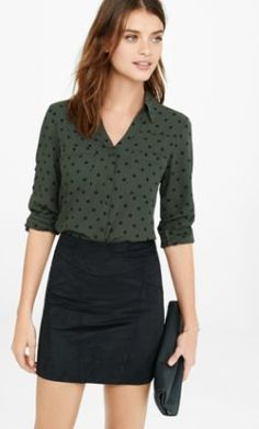 I think polka dots are very feminine and don't go out of style however if you're not into this one they have these portofino shirts in a million different prints and solid colors. I'm obsessed with them. 40% off for President's day. slim fit olive and black polka dot portofino shirt from EXPRESS