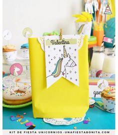 Etiquetas para souvenirs de unicornios Media Luna, Third Birthday, Unicorn Party, Party Themes, Birthday Parties, Birthdays, Gift Wrapping, Baby Shower, Gifts
