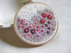 SALE  Hand Embroidered Flower Season Hoop Art