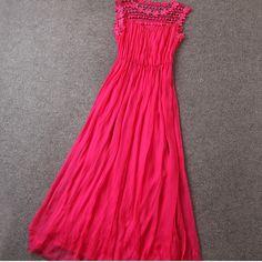 Fashion New Long Designer Embroidered Dress For Women - Rose