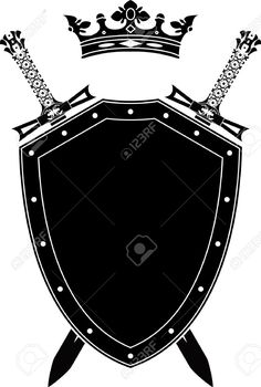 Shield, Swords And Crown. Stencil. Vector Illustration Royalty Free Cliparts, Vectors, And Stock Illustration. Pic 9223369.