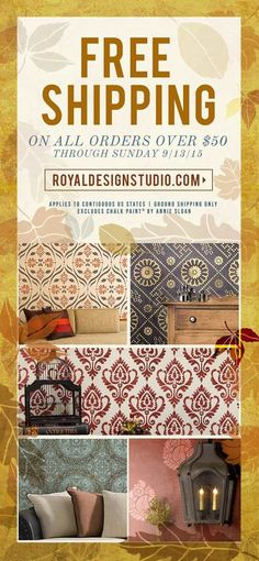 Great news! Every order $50 and over qualifies for FREE ground SHIPPING now through 9/13/15! Make sure to grab all your fav stencils now! Excludes Chalk Paint and includes continugous US: www.royaldesignstudio.com/collections/stencils