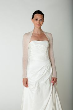5bacce00fa8 Bridal Shrug for your wedding dress with lace sleeve knitted for the  vintage wedding in white CASHMERE
