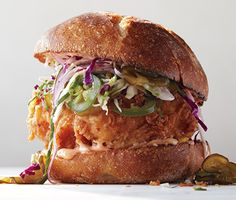 Fried Chicken Sandwich with Slaw and Spicy Mayo Recipe  from Epicurious.com