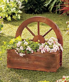 Wagon Wheel Planter Garden Yard Decor Flowers + Plants Wood Box [sm200111-3VPN] - $28.95 : Smart Saver LLC
