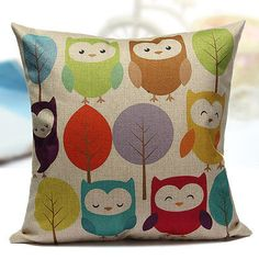 Cotton-Linen-Cartoon-Animal-Owl-Leaves-Throw-Pillow-Case-Sofa-Cushion-Cover