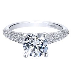 From Gabriel & Co., a 14k White Gold Contemporary Straight Engagement Ring
