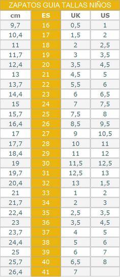 Relación talla-cms para calzado infantil Tabla De Medidas dc0116ccd3a