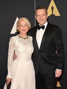 Helen Mirren and Trumbo costar Bryan Cranston attend the Governors Awards. Mirren shone in a dramatic white gown with a lace overlay.  Araya Diaz, WireImage