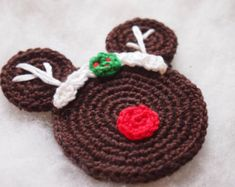 Christmas Ornament Mickey Mouse Minnie Mouse crochet pattern, Rudolph The Red Nosed Reindeer, Christmas decoration