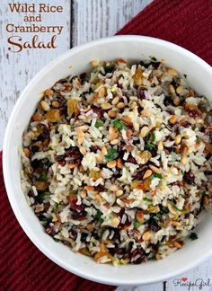 Wild Rice and Cranberry Salad recipe from RecipeGirl.com #wild #rice #wildrice #cranberry #salad #cold #fall #recipe #RecipeGirl Wild Rice Recipes, Rice Salad Recipes, Vegetarian Recipes, Cooking Recipes, Healthy Recipes, Vegetarian Chicken, Wild Rice Recipe Vegetarian, Kabasa Recipes, Quorn Recipes