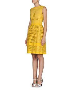 Open+Lattice-Pattern+A-Line+Dress,+Yolk+Yellow+by+Fendi+at+Neiman+Marcus.
