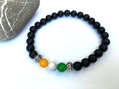 Men's Irish flag bracelet, Irish boyfriend husband gift, men's handmade jewelry…