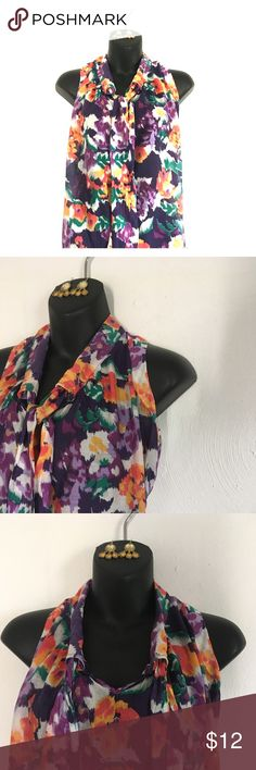 Watercolor style floral sleeveless top Gorgeous sleeveless top-- floral/ watercolor print. Versatile neckline- can be knotted, bowed, placed to one side or the other. Earrings listed separately, feel free to bundle! Merona Tops