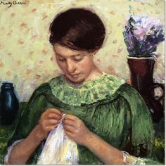 Woman Sewing, 1913-1914, by American artist Mary Cassatt (1844-1926). Impressionism, oil on canvas. Private Collection.