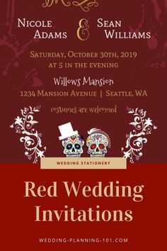 Are you having a red wedding scheme? Get ideas and see photos of red wedding invitations today! #RedWeddingInvitations #RedWeddingStationery #RedWeddingIdeas #RedColorScheme #RedWeddingIdeas #WeddingIdeas