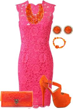 """pink and orange #2"" by silek ❤ liked on Polyvore ♡♡♡ Cute color combo, unfortunately not on pasty winter girls :c"