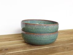 Rustic Pottery Soup Bowls in Sea Mist Glaze by dorothydomingo Stoneware Clay, Ceramic Bowls, Ceramic Art, Soup Mugs, Soup Bowls, Pottery Bowls, Rustic Kitchen, Mud, Mists