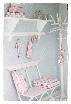 Bedroom, love the blue polka dot with pink.