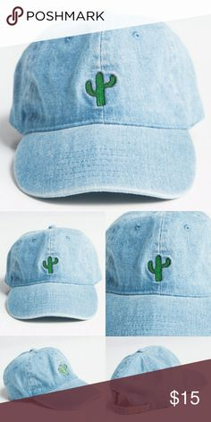Cactus Embroidered Denim Baseball Cap🌵 🌵 - cotton - one size fits all - adjustable strap - cactus embroidered Accessories Hats