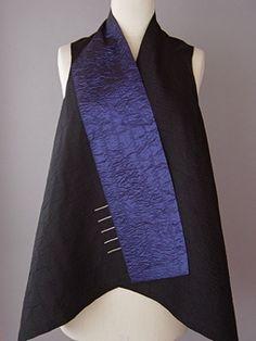 Draped Collar Vest Blue and Black  Juanita Girardin