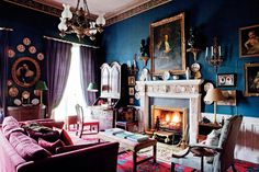 The dark blue library in the ancient Glin Castle in Ireland - Very bright #rug.