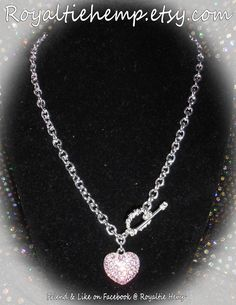 Pink Rhinestone Heart Chain Link Necklace by RoyaltieHemp on Etsy, $20.00
