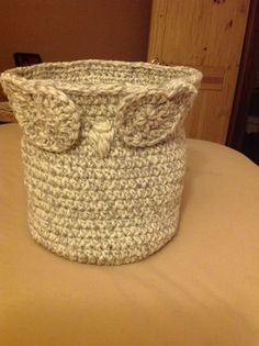 Crochet owl planter basket