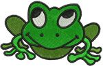 Wicked Stitch of the East Free Embroidery Design: Frog 2.00 inches H x 3.00 inches W