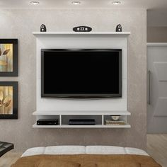 Panel for TV up to 42 Inches Bari Novo Horizonte Branco - TV panel - Panel for TV up to 42 Inches Bari Novo Horizonte Branco – TV panel until - Bedroom Tv Wall, Tv Unit Furniture, Living Room Partition, Tv Wall Design, Luxurious Bedrooms, Tv Decor, Small Room Bedroom, Drawing Room Decor