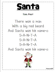 Santa song printable. Should say big white beard...