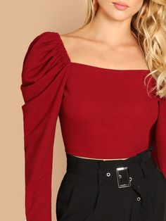 To find out about the Puff Sleeve Square Neck Top at SHEIN, part of our latest Blouses ready to shop online today! Cute Casual Outfits, Casual Dresses, Fashion Dresses, A Line Skirt Outfits, Square Neck Top, Fashion Photography Inspiration, Elegant Outfit, Look Cool, Couture Fashion