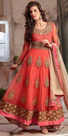 Trendy Orange Georgette Anarkali Suit With Chiffon Dupatta.