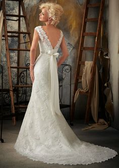 Mori Lee Lace V-Back Wedding Dress with Cap Sleeve