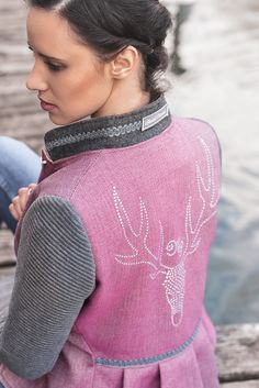 Pink, Turtle Neck, Blazer, Sweaters, Fashion, Crests, Linen Fabric, Model, Silver