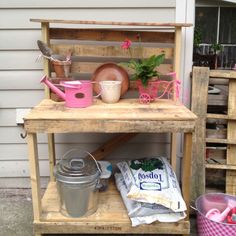 Don and I made a garden station from a pallet and a few 2x4s.