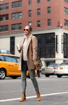 turtleneck sweater with blazer and gray jeans with suede boots