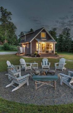 Fire pit out door patio design, ideas and inspo. Design the backyard and patio fo your dreams Cabins And Cottages, Beach Cottages, Small Cabins, Small Cabin Plans, Outdoor Spaces, Outdoor Living, Outdoor Seating, Outdoor Fun, Outdoor Ideas