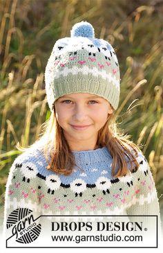 Ravelry: Lamb Dance Sweater pattern by DROPS design Easy Scarf Knitting Patterns, Baby Boy Knitting Patterns, Baby Hats Knitting, Knitting For Kids, Free Knitting, Knitted Hats, Sewing Patterns, Crochet Design, Crochet Motifs
