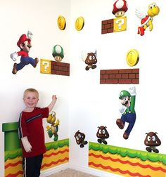 how awesome...a DIY for a Super Mario Bros. Kids Bedroom!   Between  this and a lego Bedroom My boys room would look amazing