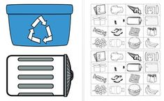 Students color and sort which items are trash and which can be recycled. Recycling worksheet