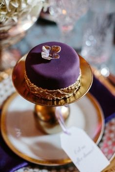 Purple and Gold Petite Cake – shared by Colin Cowie Weddings