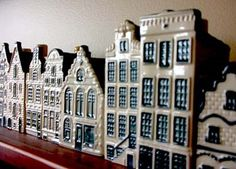 KLM's Dutch canal houses, with chimneys sealed with wax to preserve alcohol. Still presented to business class travelers.