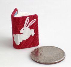 miniature red rabbit handmade book by Ruth Bleakley