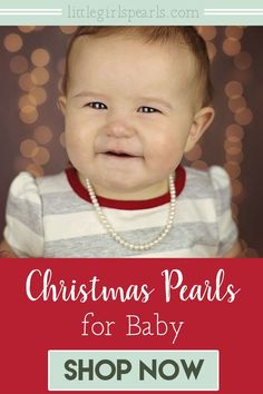 How precious will she be in her first pearls! Gifting real pearls is a beautiful family tradition that can be passed down to her little someday. Won't she love to have a necklace just like Nana? Handcrafted in the USA with quick shipping. ♥ #littlegirlspearls #nanaspearls #pearljewelry #pearlsforgirls