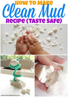 This clean mud recipe is made from things in the kitchen a great alternative from the classic soap or toilet paper idea making it taste safe for kids who still put things in their mouths or have sensory seeking issues.