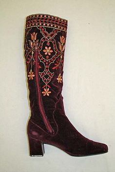 Embroidered silk and cotton velvet boots, designed by Charles Jourdan, French, 1967.
